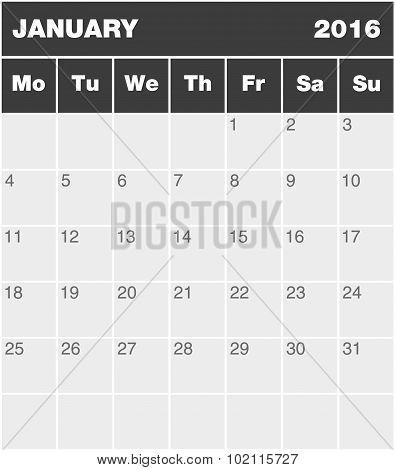 Classic Month Planning Calendar - January 2016
