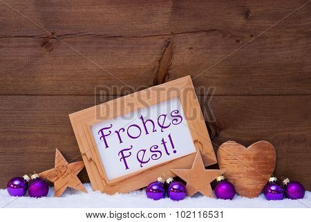 Purple Decoration Text Frohes Fest Mean Merry Christmas