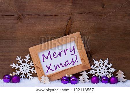 Purple Christmas Decoration, Snow, Merry Xmas
