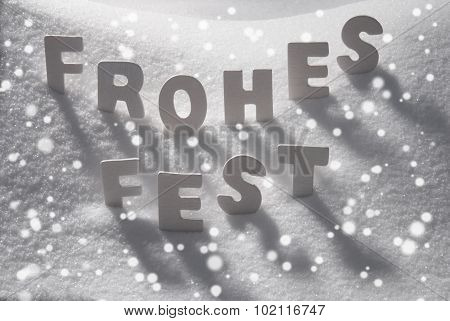 White Word Frohes Fest Means Merry Christmas On Snow, Snowflakes
