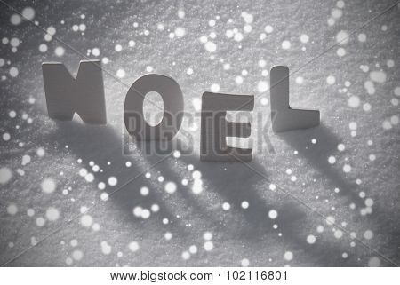 White Word Noel Means Christmas On Snow, Snowflakes