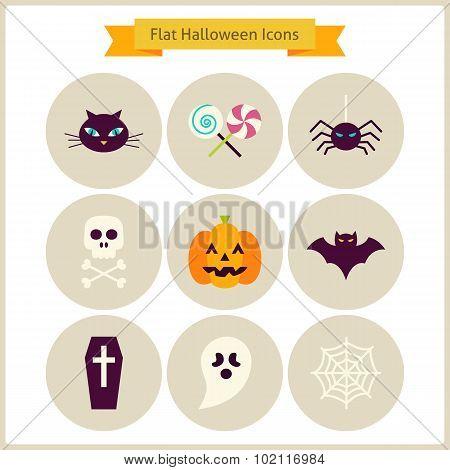 Flat Halloween Icons Set