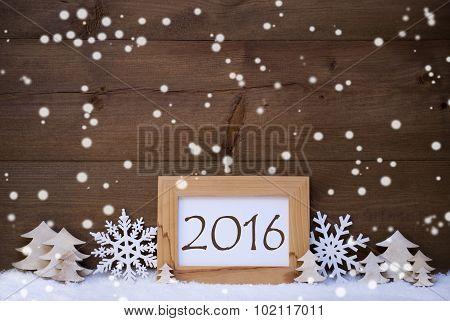 White Christmas Decoration Text 2016, Snow, Snowflakes