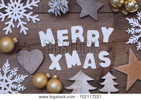 Wooden Background, Merry Xmas, Golden Christmas Decoration