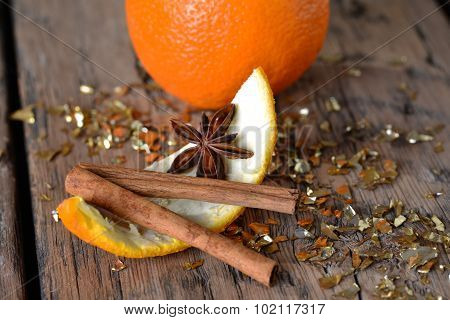 Christmas Food, Orange Zest, Anise, Glitter, Cinnamon Stick
