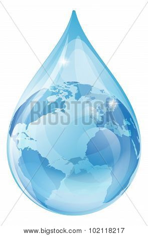 Water Drop Earth Concept