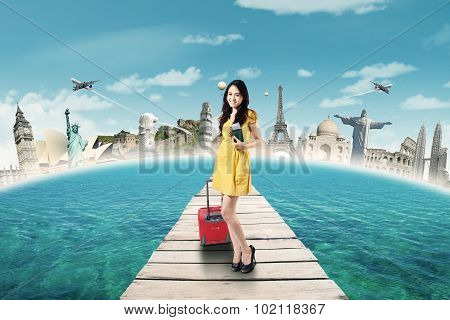 Beautiful Tourist Holds Passport On The Bridge
