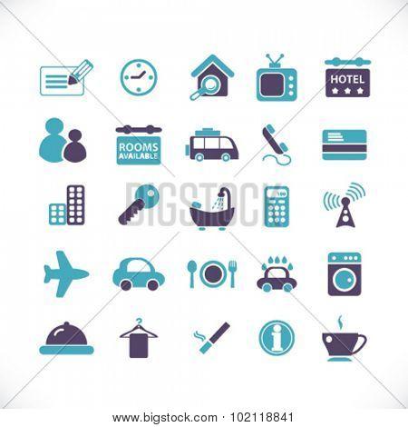 motel, hotel icons