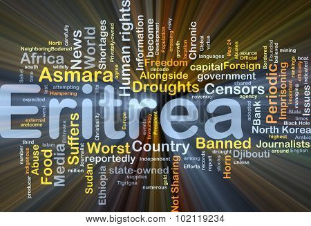Background concept wordcloud illustration of Eritrea glowing light