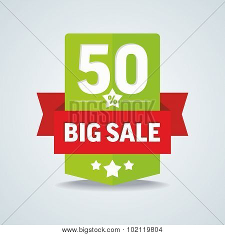Big sale 50 percent badge with red ribbon. Vector illustration.