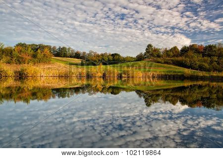 Autumn Scenery  On The Pond