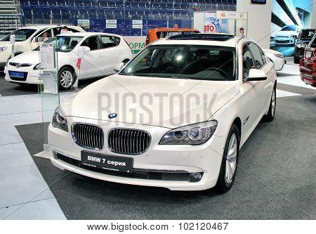 UFA, RUSSIA - JUNE 10: German motor car BMW 7-series (F01) on display at the annual Motor show