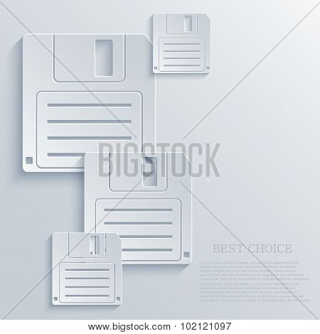 Vector modern diskette light icon background.