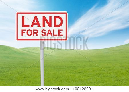 Signboard With Land For Sale Text