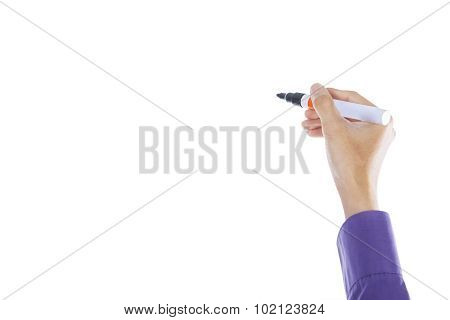 Worker Hand Writing With Marker