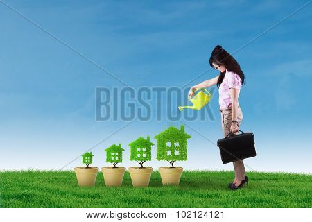 Young Woman Pouring Water On The Tree House