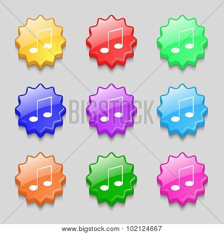 Music Note Sign Icon. Musical Symbol. Symbols On Nine Wavy Colourful Buttons. Vector