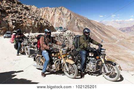 Motocycles Brand Royal Enfield In Highest Road Pass