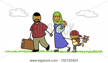Islamic family as refugees on the move in nature