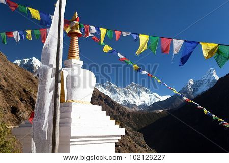 White Stupa And Prayer Flags Near Namche Bazar