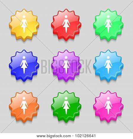Female Sign Icon. Woman Human Symbol. Women Toilet. Symbols On Nine Wavy Colourful Buttons. Vector