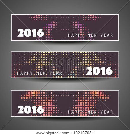 Set of Horizontal New Year Banners - 2016 Dotted Version