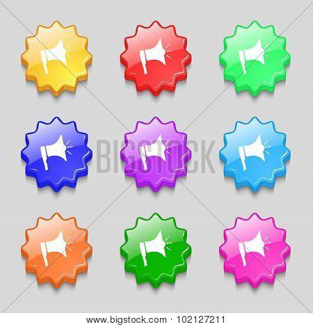 Megaphone Soon Icon. Loudspeaker Symbol. Symbols On Nine Wavy Colourful Buttons. Vector
