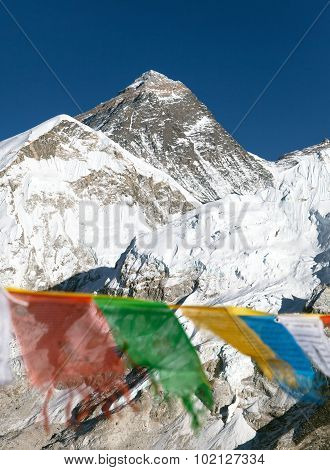 View Of Mount Everest With Buddhist Prayer Flags