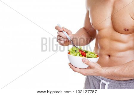 Cropped image of fitness man holding a bowl of salad, isolated on white background