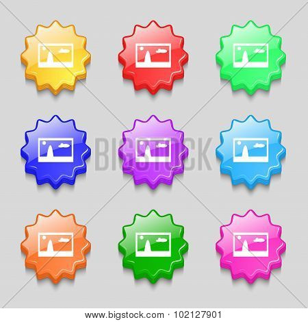 File Jpg Sign Icon. Download Image File Symbol. Symbols On Nine Wavy Colourful Buttons. Vector