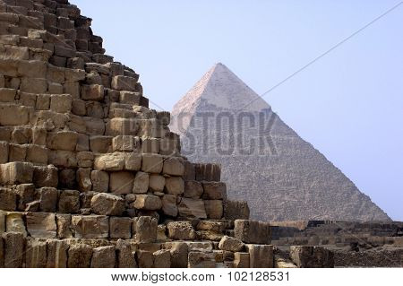 The Great Pyramids of Gizeh in Egypt.
