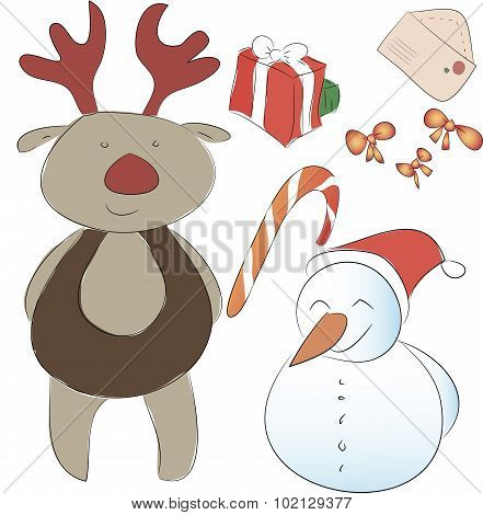 Set Of Elements For The New Year Or Christmas Decor. Assistant Santa Snowman And Rudolph Reindeer, B