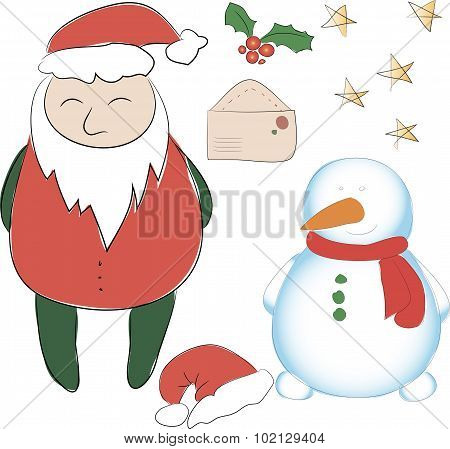 Set Of Elements For The New Year Or Christmas Decor. Santa Claus And His Snowman Helper, Bows For De