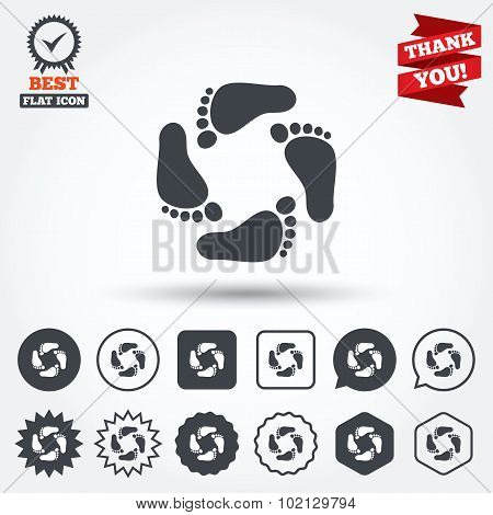 Baby footprints icon. Child barefoot steps.
