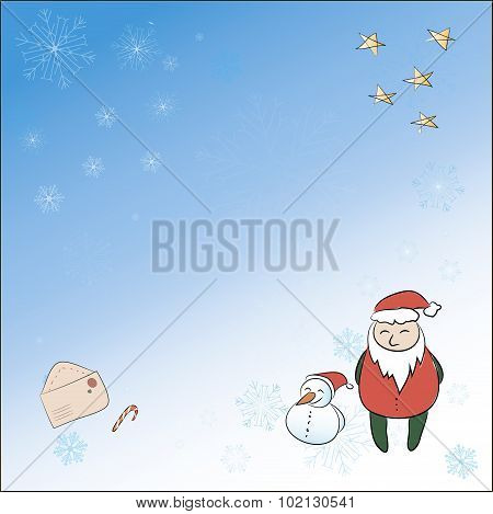 A Square Christmas Card With Santa, Snowman Magic Wand. All Group Members Are Stored On Separate Lay