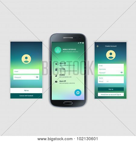 Mobile Screens User Interface Kit. Modern user interface UX, UI screen template for mobile smart pho