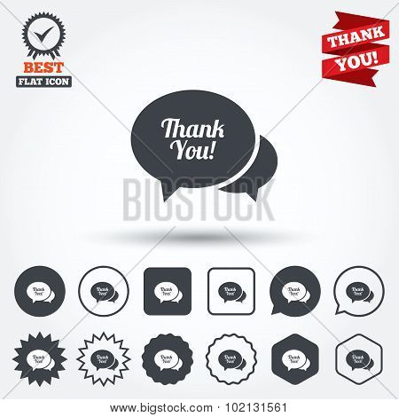 Speech bubble thank you icon. Customer service.