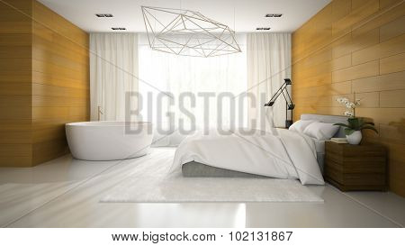 Interior of modern design badroom with bathtub 3D rendering