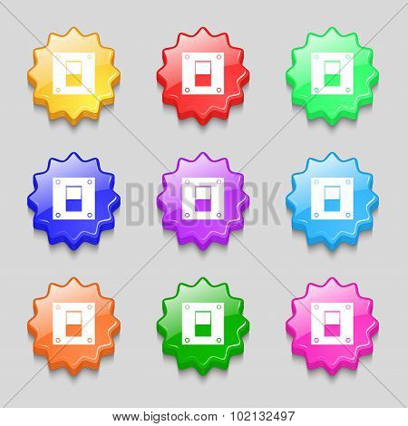 Power Switch Icon Sign. Symbols On Nine Wavy Colourful Buttons. Vector
