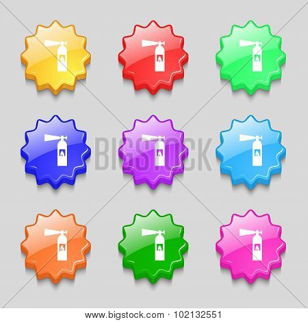Fire Extinguisher Icon Sign. Symbols On Nine Wavy Colourful Buttons. Vector