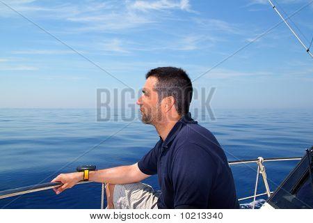 Sailor Man Sailing Boat Blue Calm Ocean Water
