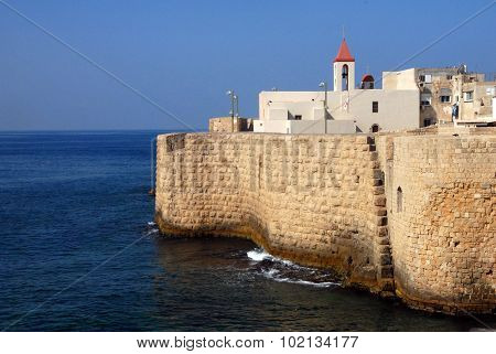 The ancient walls Acre Akko in Israel.