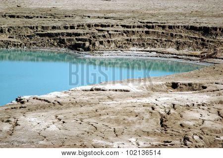 A Sinkhole in The Dead Sea valley Israel.