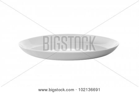 white plate, view from aside, isolated