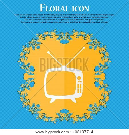 Retro Tv Mode Sign Icon. Television Set Symbol. Floral Flat Design On A Blue Abstract Background Wit