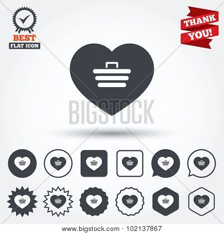 Love Shopping Cart sign icon. Online buying.