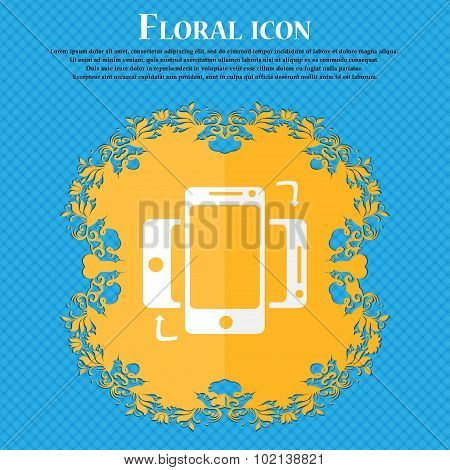 Synchronization Sign Icon. Smartphones Sync Symbol. Data Exchange. Floral Flat Design On A Blue Abst