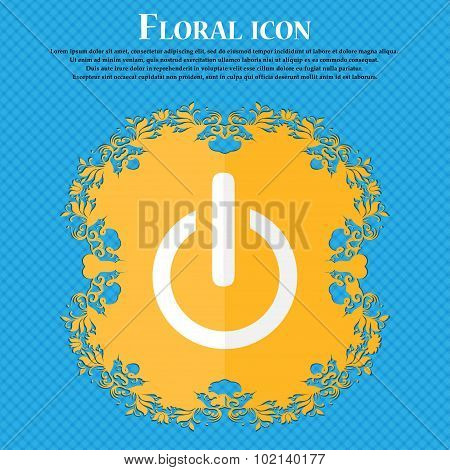 Power Sign Icon. Switch Symbol. Floral Flat Design On A Blue Abstract Background With Place For Your