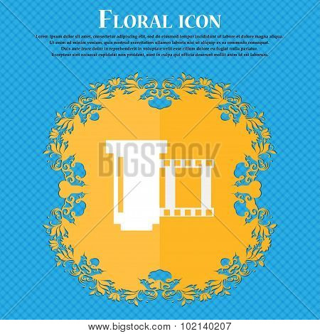 Negative Films Icon Symbol. Floral Flat Design On A Blue Abstract Background With Place For Your Tex