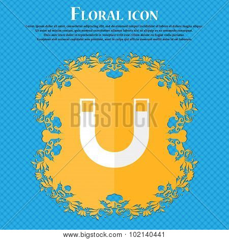 Magnet Sign Icon. Horseshoe It Symbol. Repair Sig. Floral Flat Design On A Blue Abstract Background